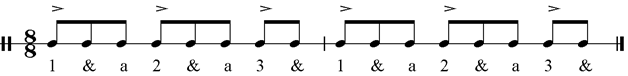 Musical example – compás of rumba