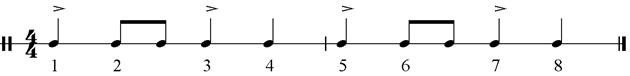 Musical example – compás of tangos